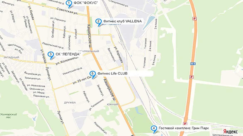 Карта расположения 5 бассейнов в Домодедово