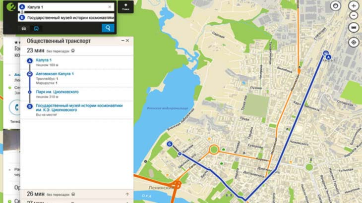 Карта проезда к музею космонавтики в Калуге