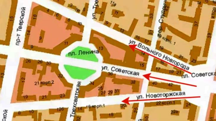 Схема трёх лучевой разметки улиц
