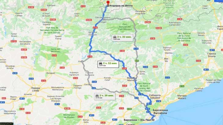 Андорра. Маршруты из Барселоны на карте